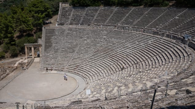 Many historical attractions, such as the ancient theater of Epidaurus, are largely empty.