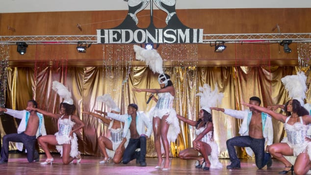 Performers at Hedonism II, seen in a pre-pandemic photo, are now required to wear masks.
