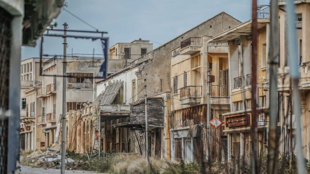 A view of abandoned buildings in Varosha, February 2020.