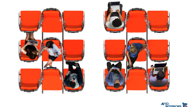 """Janus,"" by Italian firm Aviointeriors, proposes seats made up of a row of three, with the seat in the middle facing the opposite direction."