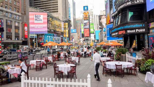 People dine outdoors at Tony's Di Napoli in Times Square on Friday as part of the annual Taste of Times Square.