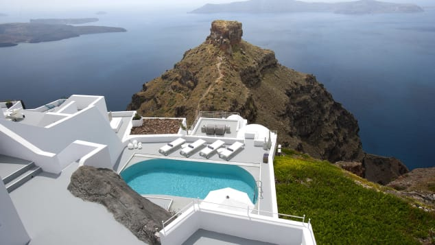 Grace Hotel is perched above Santorini's Caldera.