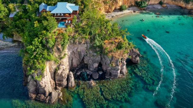 All-villa boutique resort Secret Bay in Dominica boasts sweeping ocean views from nearly every angle.