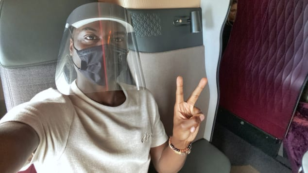 Writer Travis Levius flew with Qatar Airways, one of a dozen or so airlines offering flights to the Maldives right now. Face sheilds and masks are mandatory while boarding.