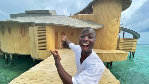 """""""The Maldives offers a golden opportunity to feel ordinary again,"""" says Levius, who's clearly impressed by his temporary Soneva Fushi home."""