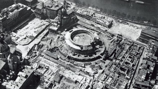 The mausoleum seen in 1963, when the area was less built up.