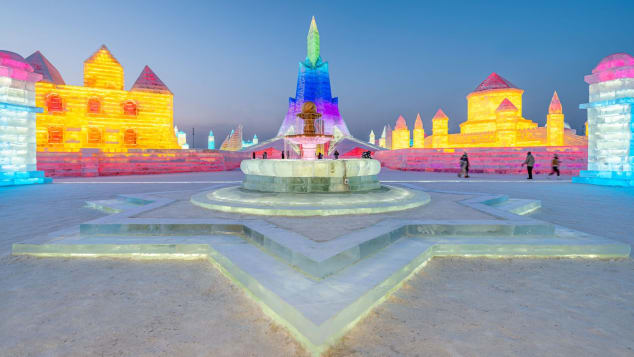 Ice sculptures at the Harbin Ice and Snow Festival in northeastern China's Heilongjiang province on January 5, 2021.