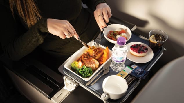 Premium economy often comes with upgraded meal service.