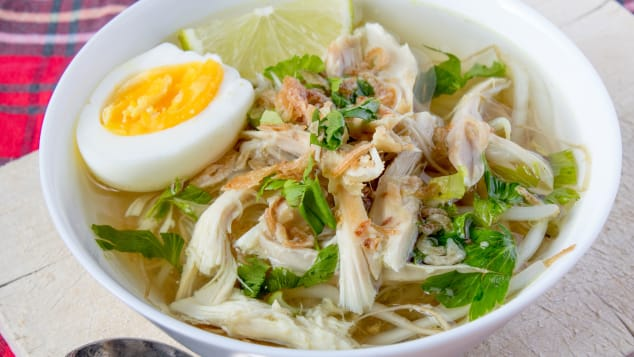 This is chicken noodle soup with an indulgent Indonesian twist.
