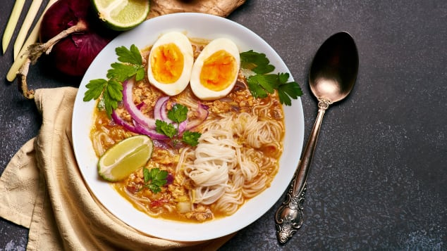 This version of mohinga features catfish, rice noodles, chicken eggs and lime.