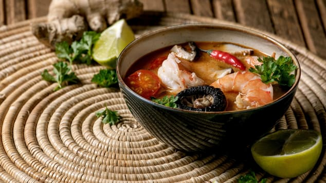 Shiitake mushrooms and prawns are the stars of this version of tom yum soup.