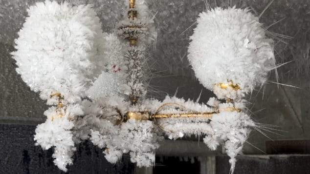 This photo of an icicle-covered lamp was taken in the village of Cementozavodsky.