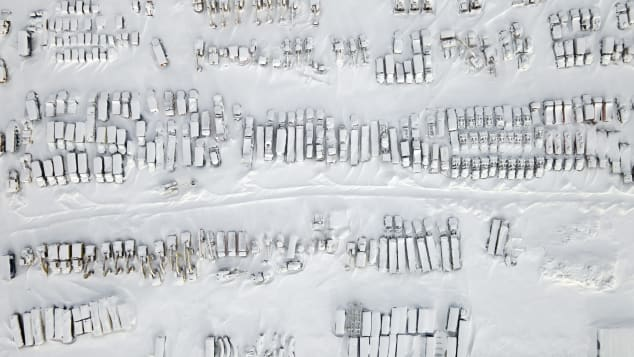 An aerial view shows frozen equipment at a construction site in the coal-mining town Vorkuta.