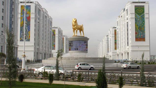 A statue of an Alabai dog in Turkmenistan's capital.