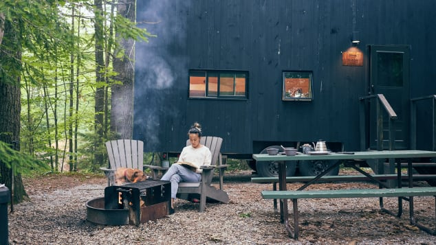 Getaway cabins have their own private fire pits.