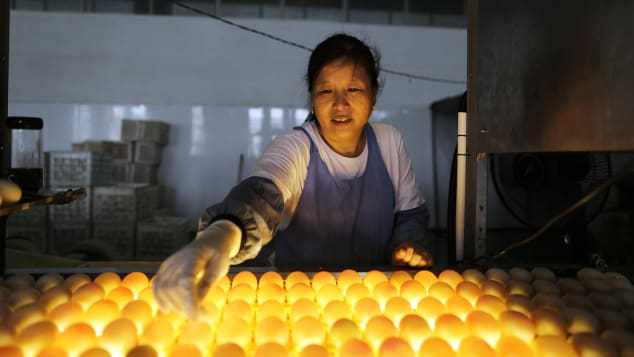 Gaoyou's double-yolk eggs sell for several times more money than their single-yolk counterparts do.