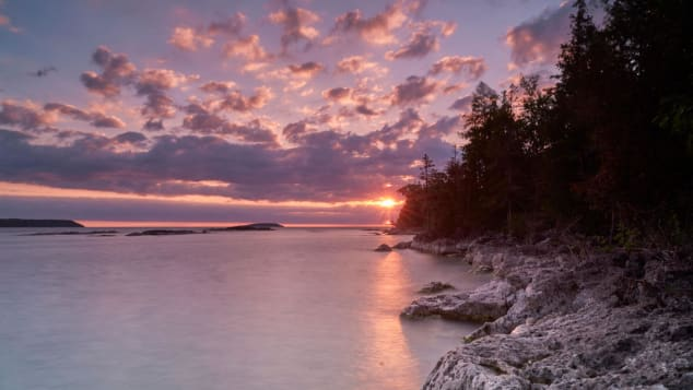 Fathom Five National Marine Park in Tobermory, Ontario, seen during a partial solar eclipse on June 10, 2021.