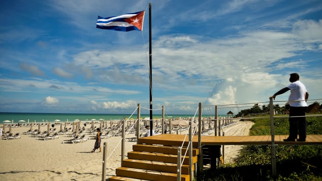 The Cuban flag at the Melia Varadero International Hotel in Matanzas Province, east of Havana on Cuba's north coast.