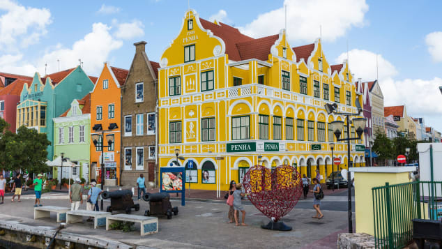 The Penha Building was built in 1708 in the Dutch colonial style and is now a department store in Willemstad, the capital of the island.