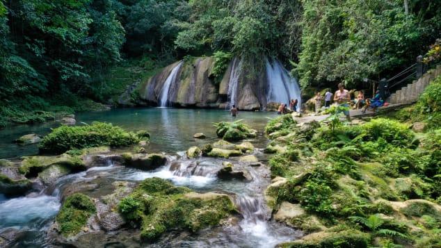 Reach Falls, near the city of Port Antonio, is a popular destination in Jamaica.