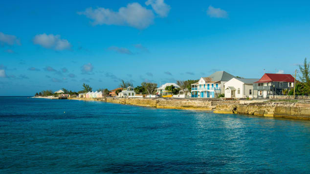 Colonial houses line the waterfront in Cockburn town, Grand Turk.