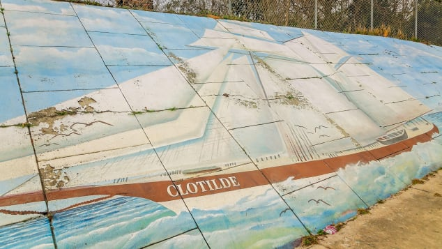 A mural of the Clotilda slave ship, which was successfully located in 2019, on display in Africatown, Alabama.