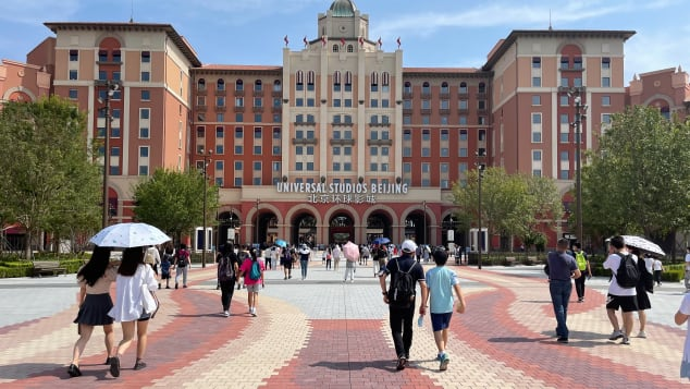 People visit the Universal Beijing Resort during its pre-opening