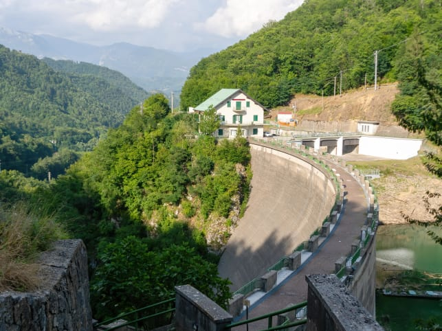 The ENEL dam on Lago Lake Vagli, Garfagnana. Built to provide hydroelectric power, it submerged a village.