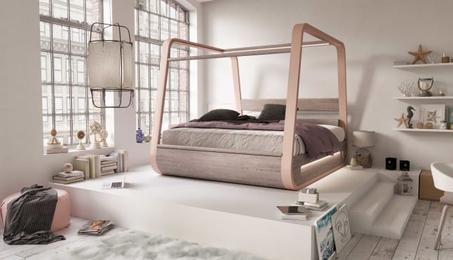 The bed is fitted with biometric monitors.