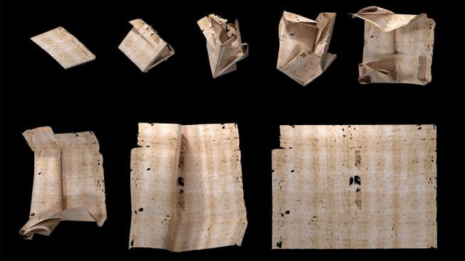 This is a computer-generated unfolding sequence of a sealed letter from 17th-century Europe. Virtual unfolding was used to read the letter's contents without physically opening it.
