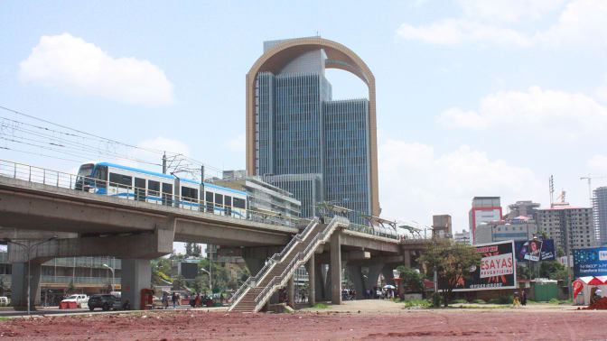 The Metro train passes through central Addis Ababa.