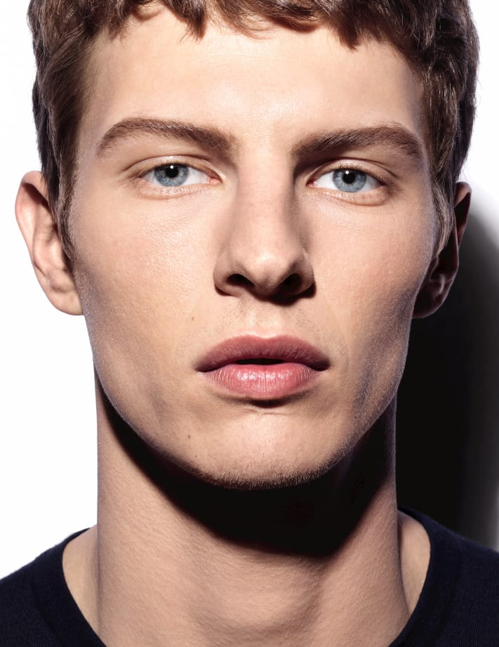 A model poses for a Boy de Chanel, Chanel's first makeup line for men.