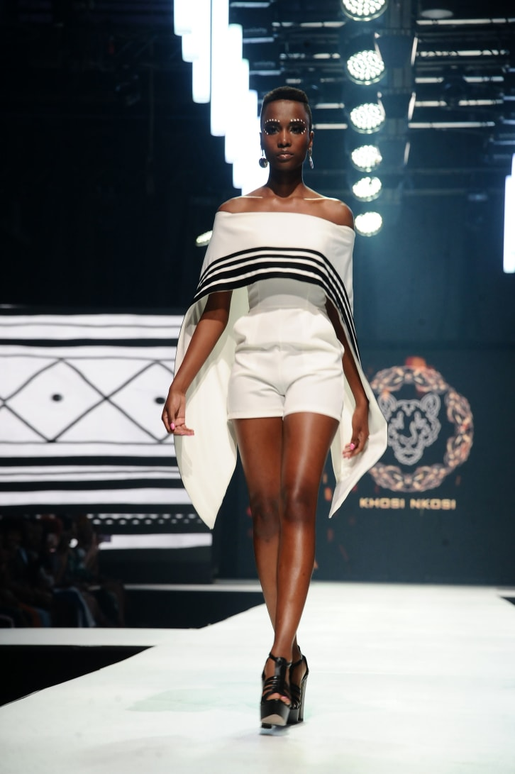 Zozibini Tunzi walks down the runway at the 2019 Africa Fashion International in Sandton, South Africa.