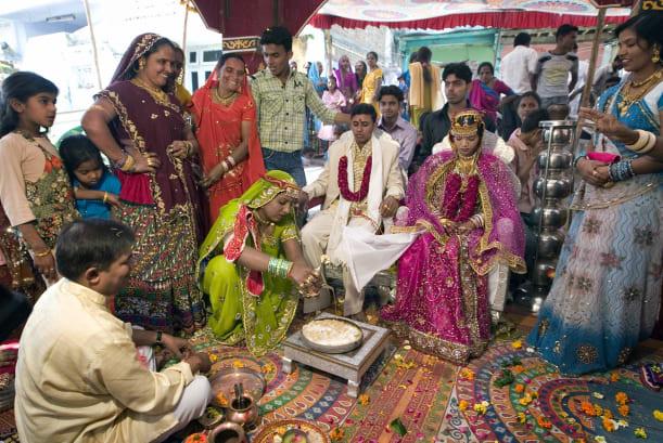 Indian Bharward couple wedding ceremony