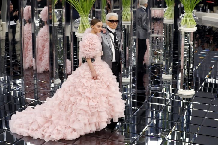Karl Lagerfeld and Lily Rose Depp at the Chanel Spring-Summer 2017 Haute Couture show.