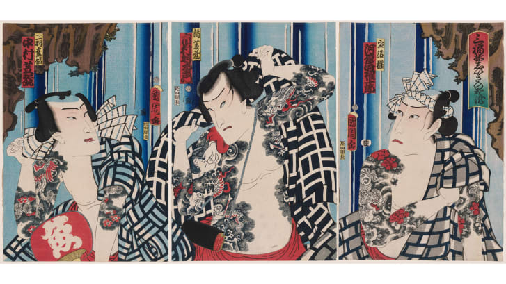 """Unity of Three Happinesses: Favorite Actors Before a White Waterfall"" (1863) by Toyohara Kunichika"
