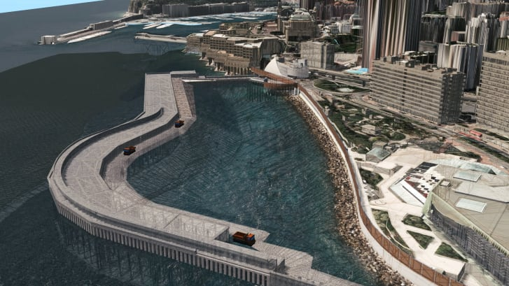 The extension will be protected by a concrete seawall.