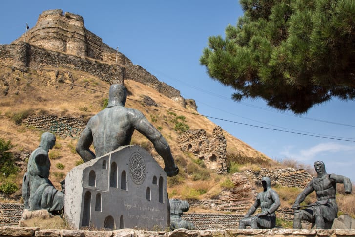 The Memorial of Georgian Warrior Heroes (1985) by sculptor Giorgi Ochiauri initially appeared in Tbilisi, but was relocated to Gori in 2009.