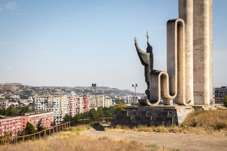 Monument to Saint Nino by Zurab Tsereteli (1988-1994) in Tbilisi. This prominent monument overlooking the capital depicts the preacher credited with bringing Christianity to Georgia in the fourth century.