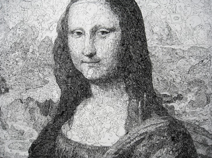 """This close-up shot of Keita Sagaki's """"Mona Lisa"""" reveals the detail that goes into every square inch of Sagaki's paintings."""