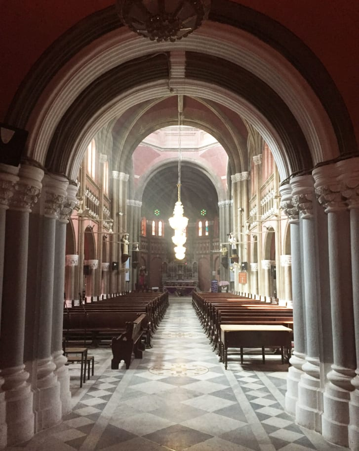 The Sacret Heart Cathedral is praised for its interior and is jammed with worshippers on Sundays.