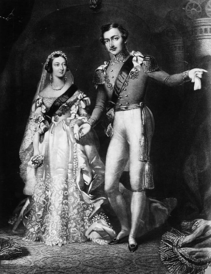 An illustration of Queen Victoria and Prince Albert on their return from the marriage service at St. James's Palace in London.