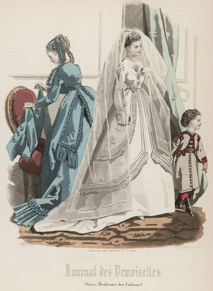A bride wears white in the April 1868 issue of the Journal des Demoiselles, an early French fashion magazine.