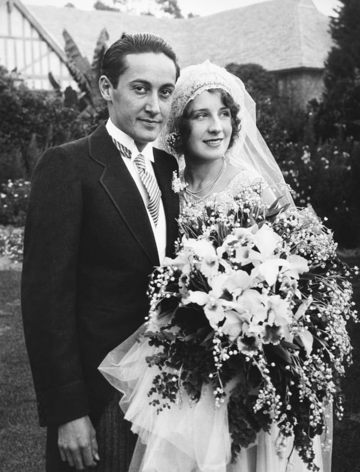 Academy Award-winning actress Norma Shearer and movie producer Irving Thalberg on their wedding day in 1927.