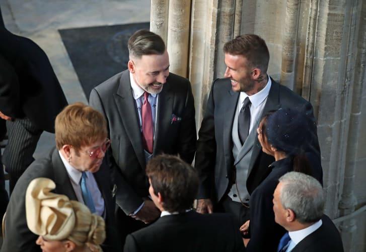 Elton John and David Furnish and the Beckhams