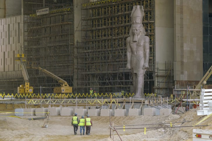 The colossus of Ramses II was moved from downtown Cairo to the GEM site in 2006, and in January 2018 was transfered to its final resting place, in the atrium of the Grand Egyptian Museum.