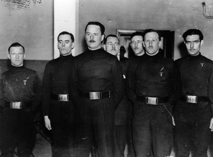 English Leader of the British Union of Fascists Oswald Mosley (1896-1980) with some of his men, including William Joyce (1906-1946), aka Lord Haw Haw (far left).