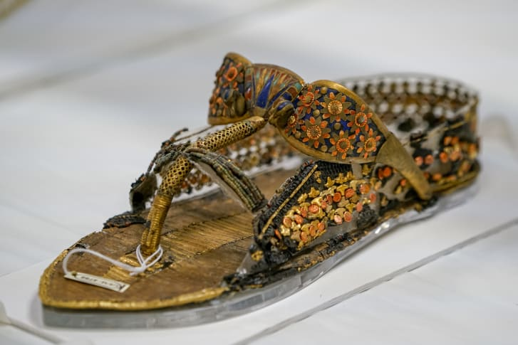 One of a pair of sandals from Tutankhamun's tomb that were restored my Mohamed Yousri.  They were thought to be a lost cause, but Yousri figured out a way to restore them, and they will be featured in the exhibition of Tutankhamun's treasures that will be on display in the first phase opening by the end of 2018.