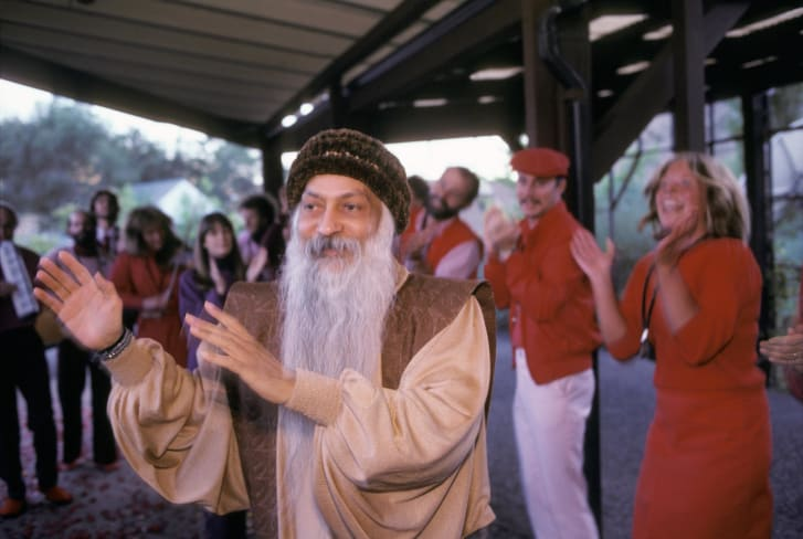 Guru Bhagwan Shree Rajneesh and his disciples in Oregon, USA.