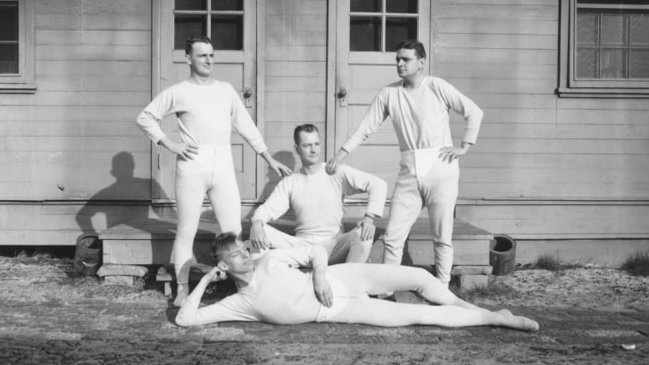 A photograph from around 1915 shows four men wearing long underwear.